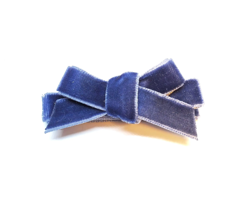 The Tiny Bow Shop Velvet Mini Hair Bow - Navy