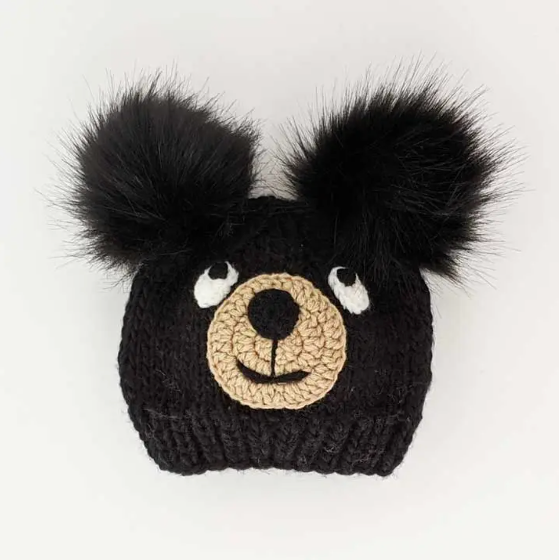 Huggalugs Black Bear Knit Beanie Hat