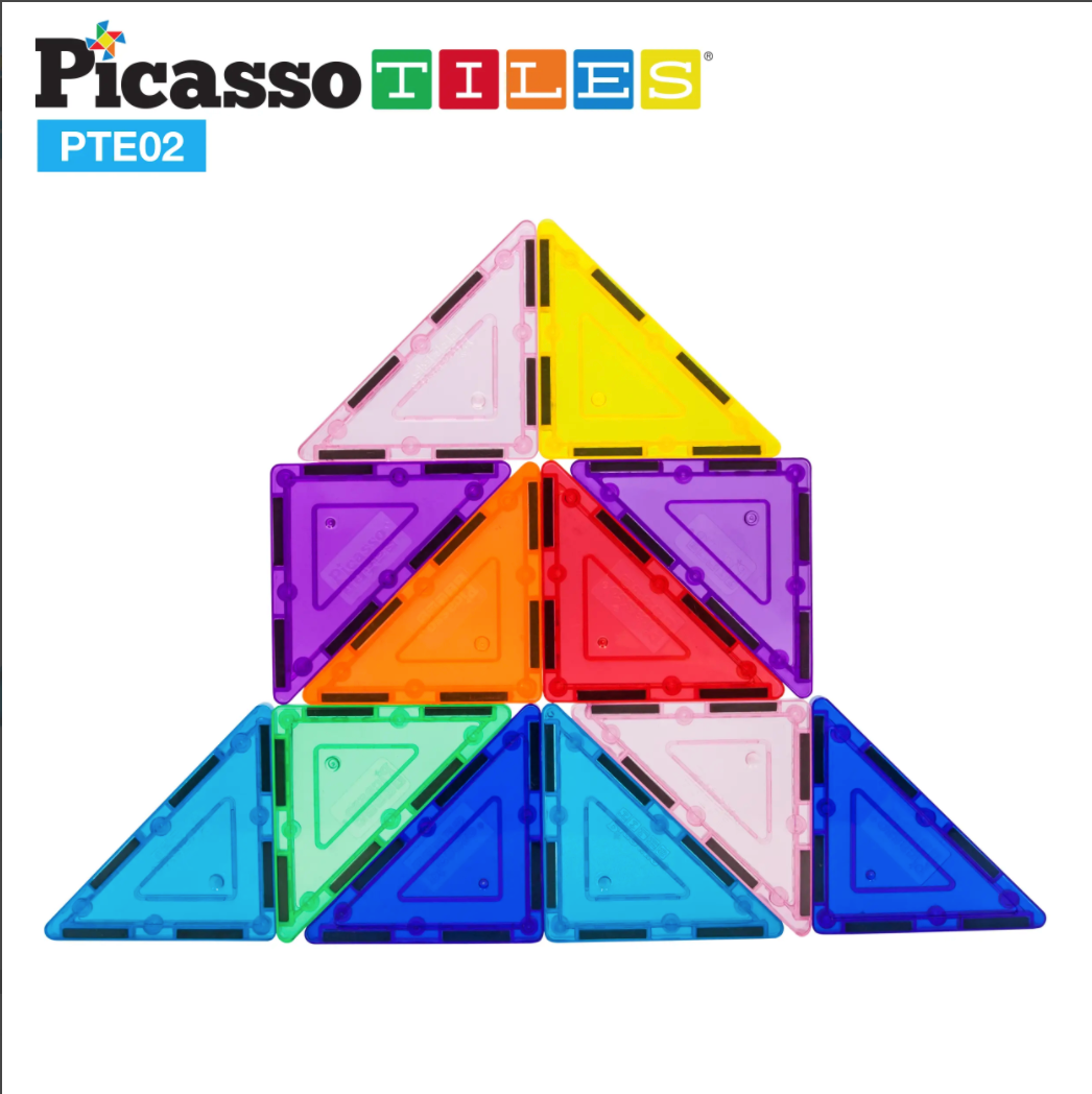 Picasso Tiles 12pc 3D Magnet Building Blocks - Right Triangle