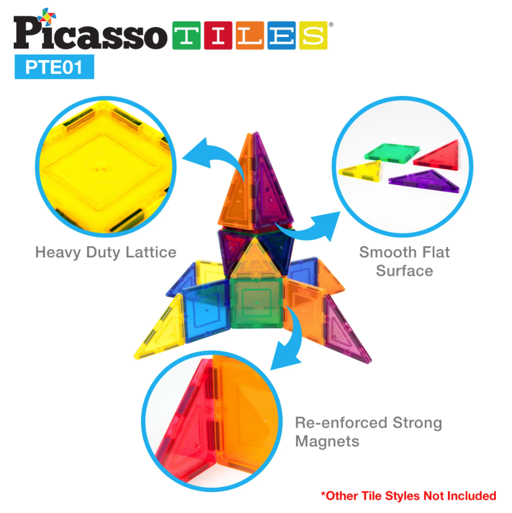 Picasso Tiles 12pc 3D Magnet Building Blocks - Equilateral Triangle