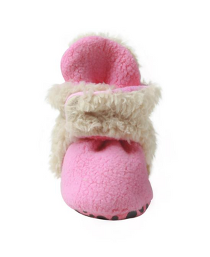 Zutano Cozie Fleece Furry Lined Bootie w/Grippers - Pink