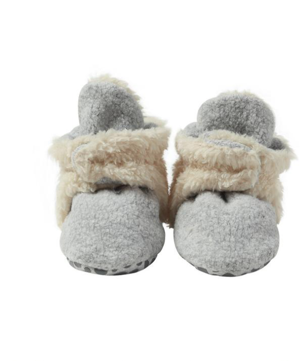Zutano Cozie Fleece Furry Lined Bootie w/Grippers - Heather Gray