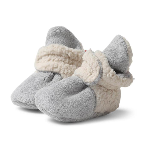 Zutano Cozie Fleece Furry Lined Bootie - Heather Gray