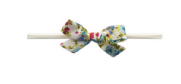 Baby Bling Cotton Print Bow - Turquoise Floral