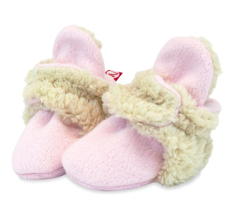 Zutano Cozie Fleece Furry Lined Bootie - Baby Pink