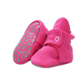 Zutano Cotton Gripper Baby Booties - Fuchsia
