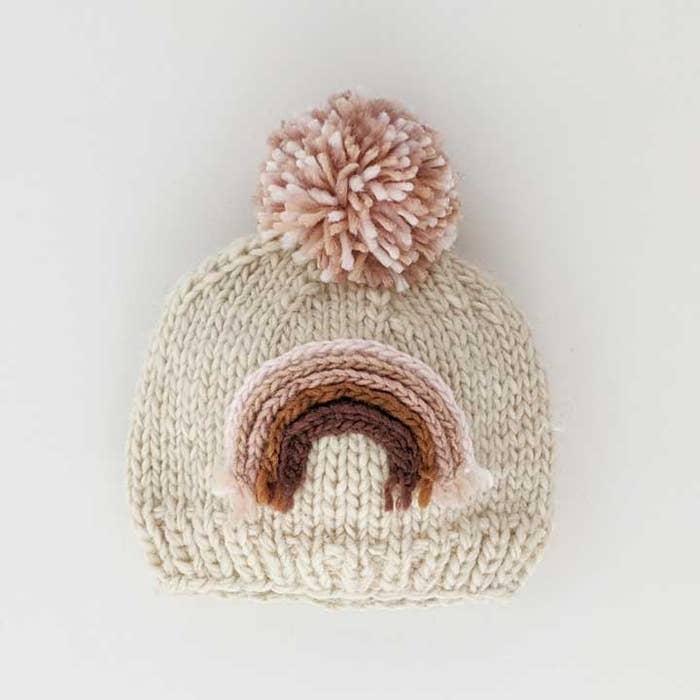 Huggalugs Blush Rainbow Knit Beanie Hat