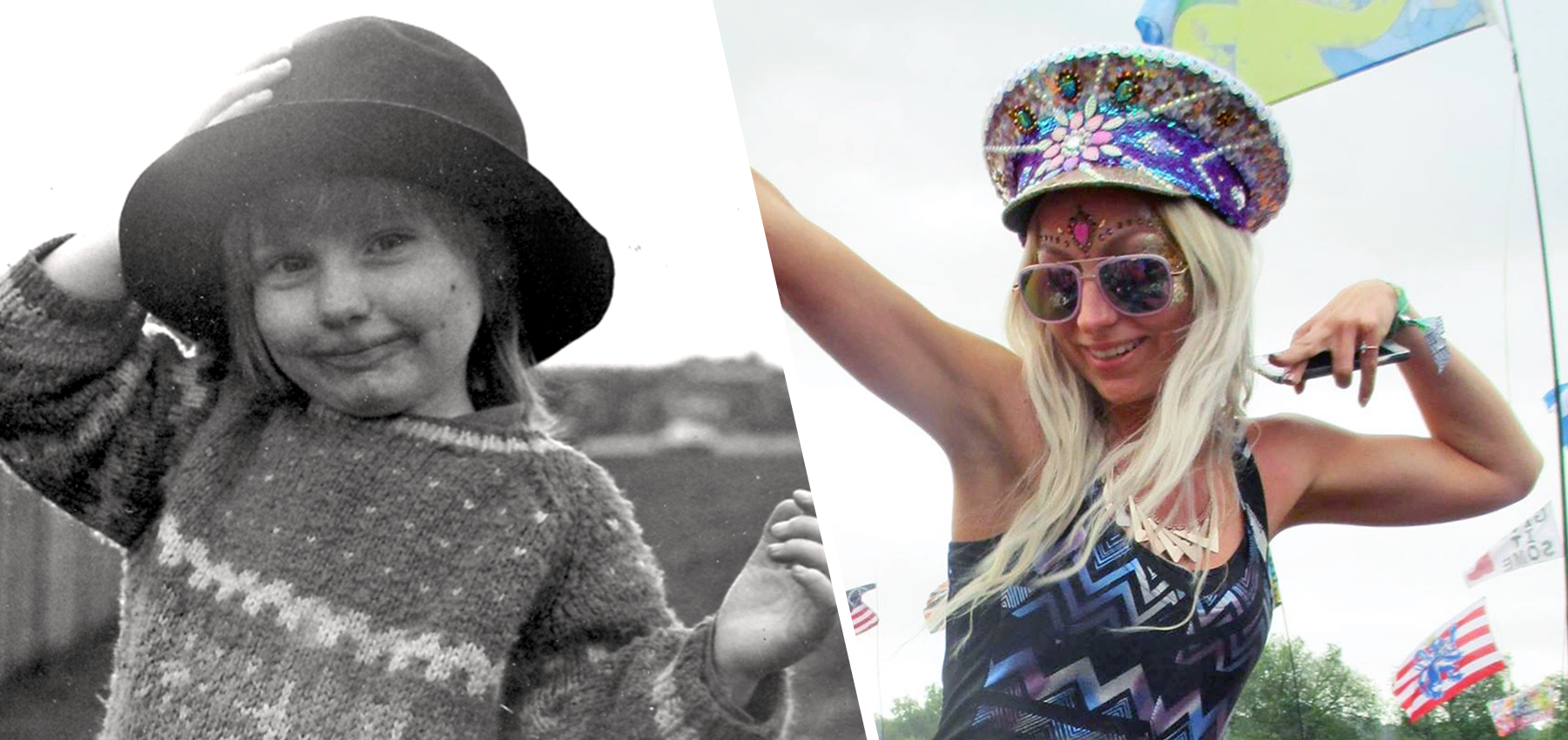Young Holly and older Holly at Glastonbury