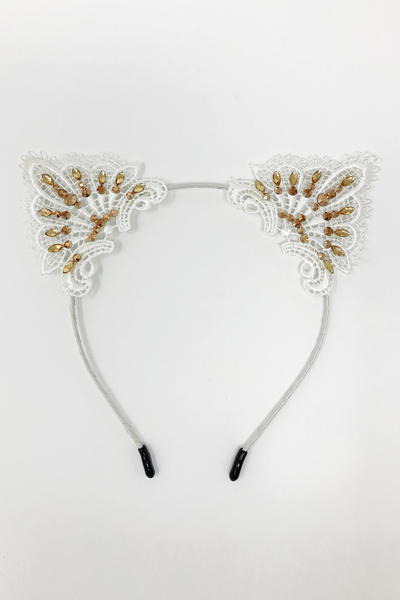 White & Gold Cat Ears