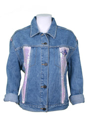 Jukebox Fashion mid-wash denim jacket lady sunglasses print with pink sequin panels - Size M