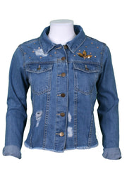 Jukebox Fashion denim jacket elephant embroidery with gold sequin embellishment - Size S