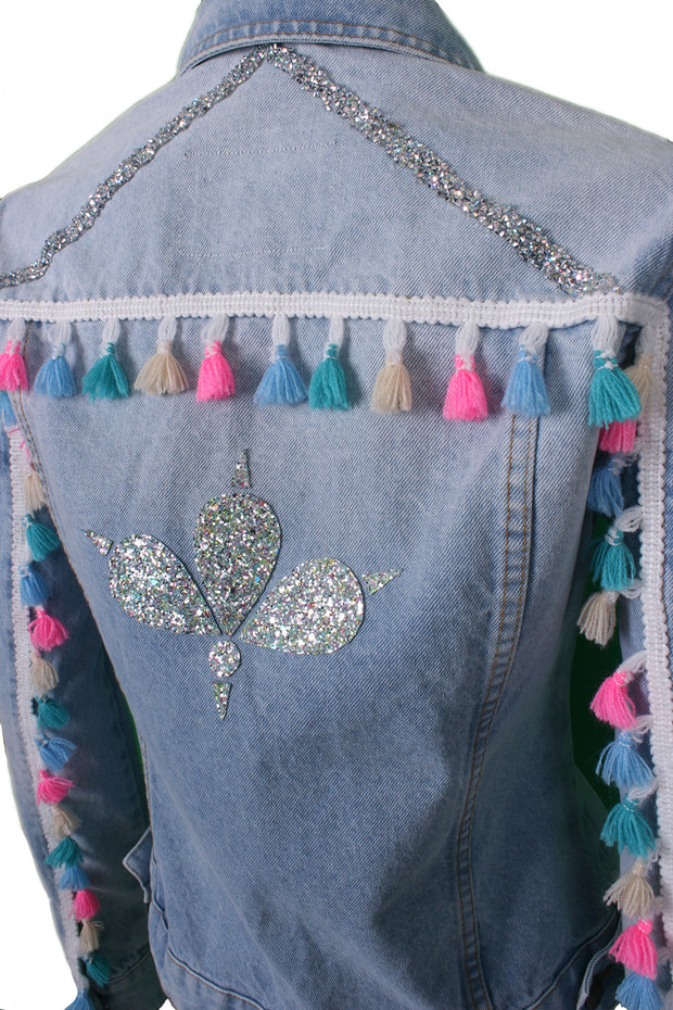 Jukebox Fashion light-wash denim jacket with tassel sleeves and crystal trims - Size XS