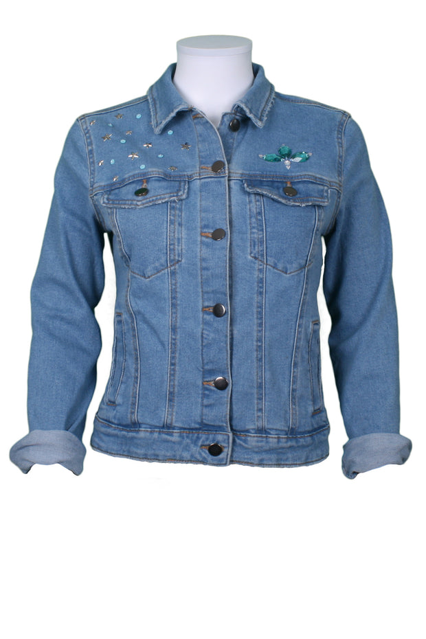 Jukebox Fashion denim jacket Oh Yes embellishment with stars and sequins - Size S