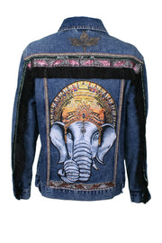 Jukebox Fashion oversized denim jacket elephant print with fringe sleeves - Size XS