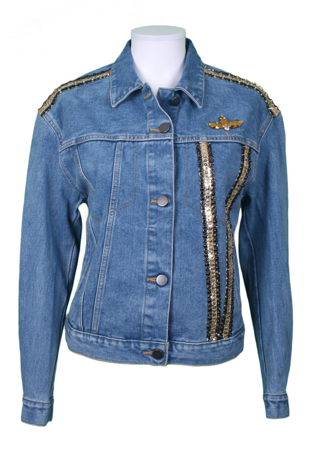 Jukebox Fashion mid-wash denim jacket gold wings with sequin and stud trims - Size XS