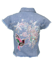 Jukebox Fashion cropped sleeveless denim jacket floral hummingbird embroidery - Size XS