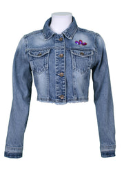 Jukebox Fashion crop denim jacket eye embroidery and black sequin panels - Size S
