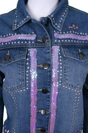 Jukebox Fashion studded denim jacket with sequins and tassel sleeves - Size S
