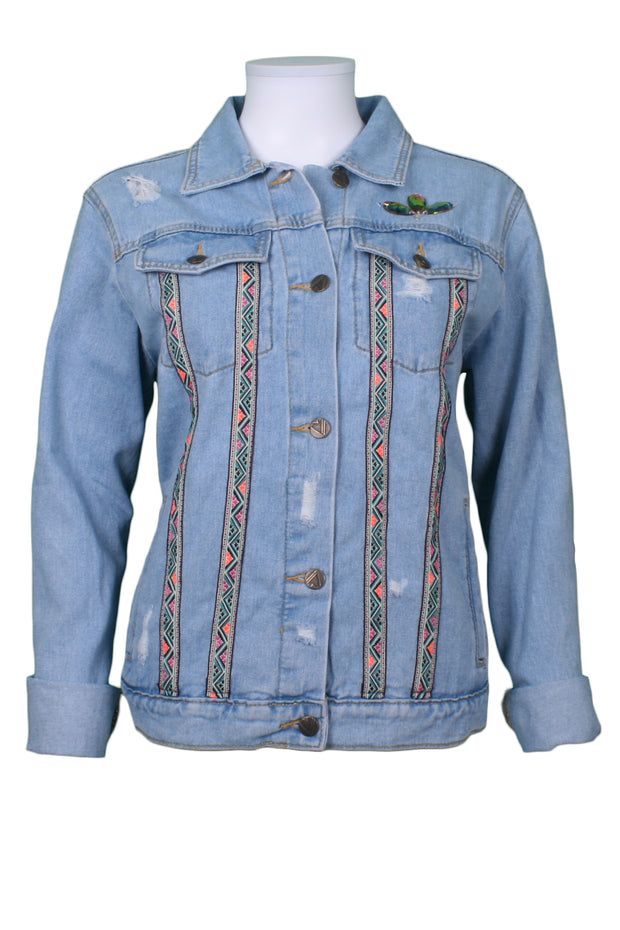 Jukebox Fashion light-wash denim jacket aztec rose embroidery with rips - Size M