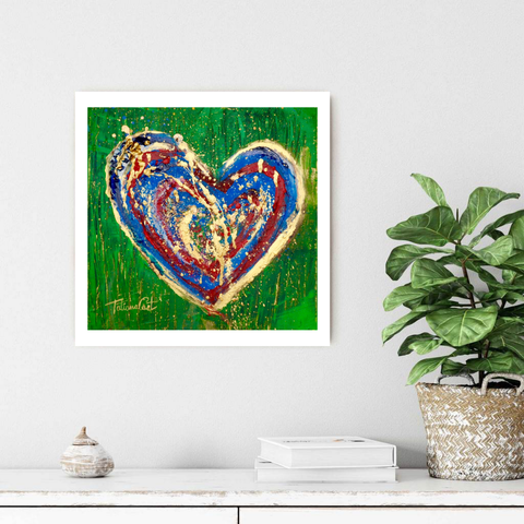 Mixed Media Heart Painting by Tatiana Cast -Art for Sale