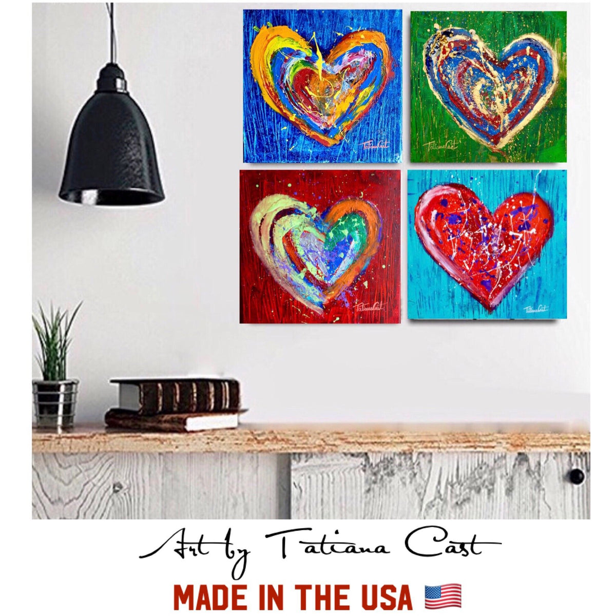 Art Special- 4 Colorful Hearts
