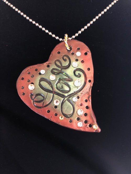 Wearable Art - Large Heart Pendant -Love3