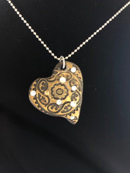 Wearable Art - Medium Heart Pendant -Love9 - TatianaCast