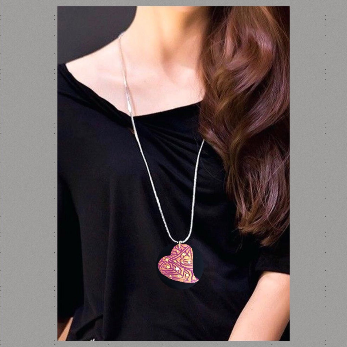 Wearable Art - Large Heart Pendant -Love4