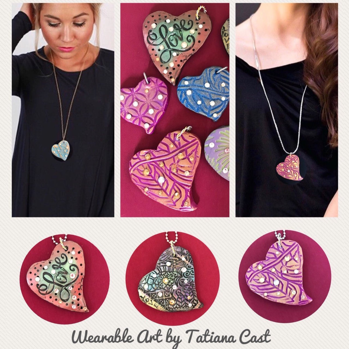 Wearable Art - Large Heart Pendant -Love3 - TatianaCast