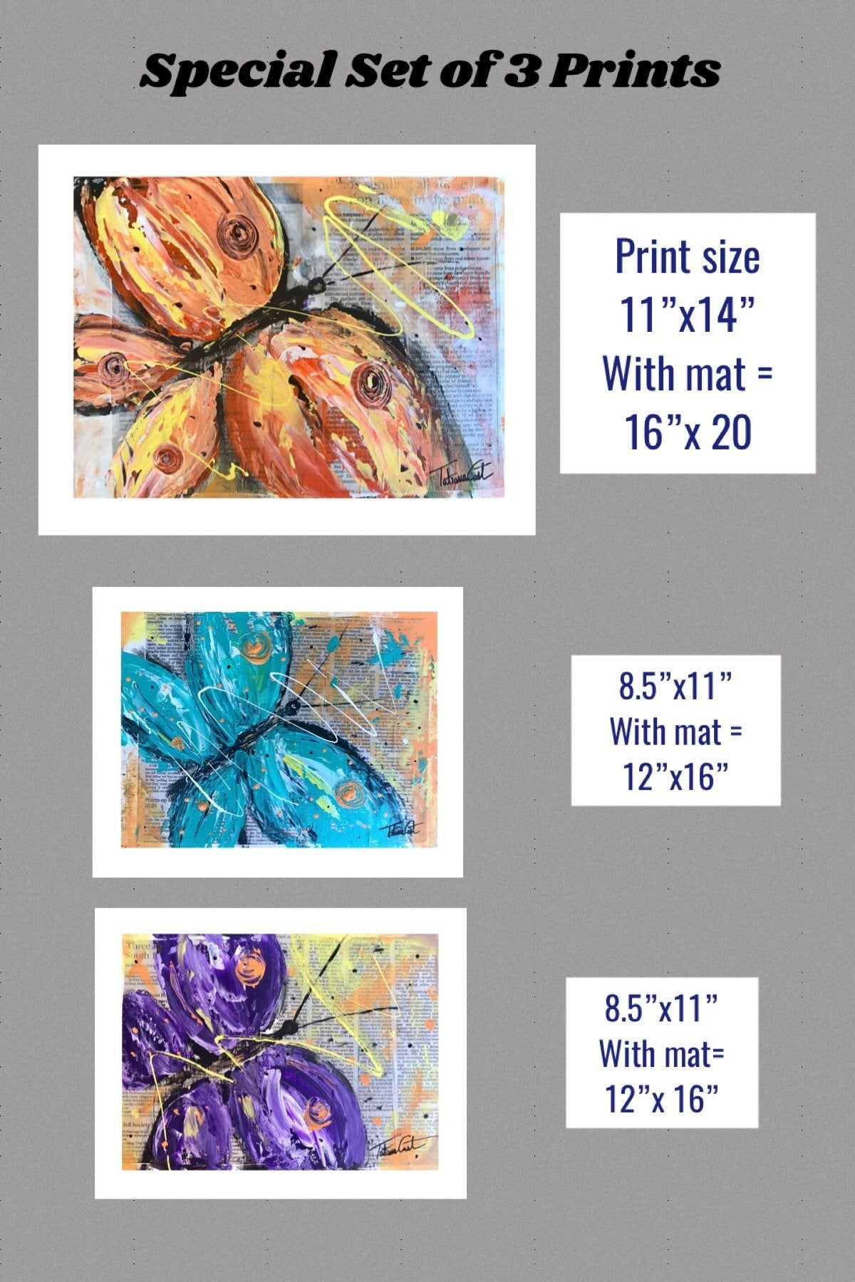 Butterfly Set of 3 -Prints