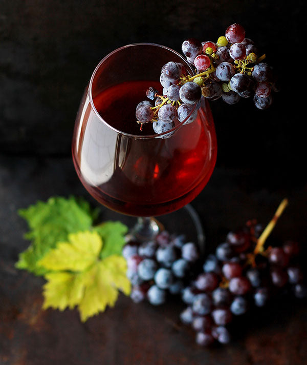 Wine grapes in wine glass (photo by Roberta Sorge)