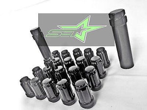 20 Black Spline Tuner Racing Lug Nuts +2 Keys | 12X1.25 | Subaru Sti  Brz Fr-S - Set Group USA - 1