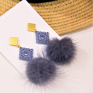 BIO-0468 Gold tile with blue furry ball dangle
