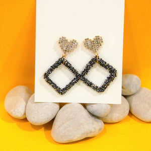BIO-0467 Heart top earrings with Square dangles