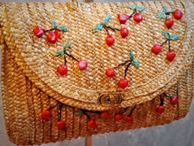 Load image into Gallery viewer, BGAL-0402 Rattan envelope  bag with cherry design