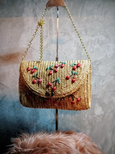 BGAL-0402 Rattan envelope  bag with cherry design