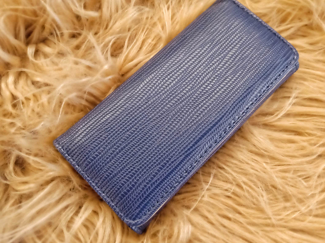 BGAL- 0373 Blue clutch wallet with string texture