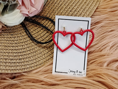 BIO-0468 Red Heart outline earrings