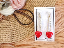 Load image into Gallery viewer, BIO-0467 Ceramic red heart earrings
