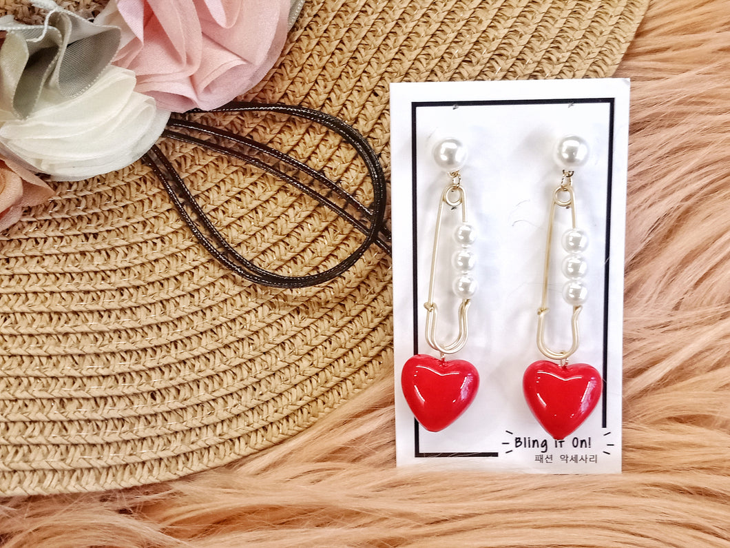 BIO-0467 Ceramic red heart earrings