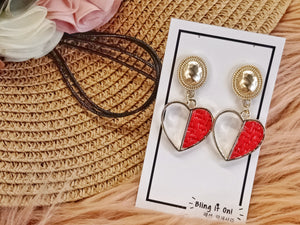 BIO-0467 Half heart red earrings with weave texture