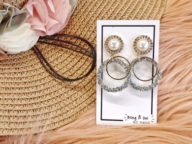 BIO-0467 Pearl top with grey circle dangle earrings
