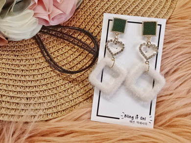 BIO-0467 Green tile heart earrings with furry diamond dangle