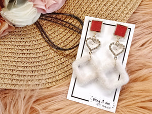 BIO-0467 Red tile heart earrings with furry diamond dangle