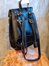 Load image into Gallery viewer, BGAL-0404 black leather backpack