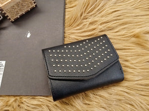 Black trifold wallet with gold studs