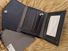Load image into Gallery viewer, Black trifold wallet with gold studs