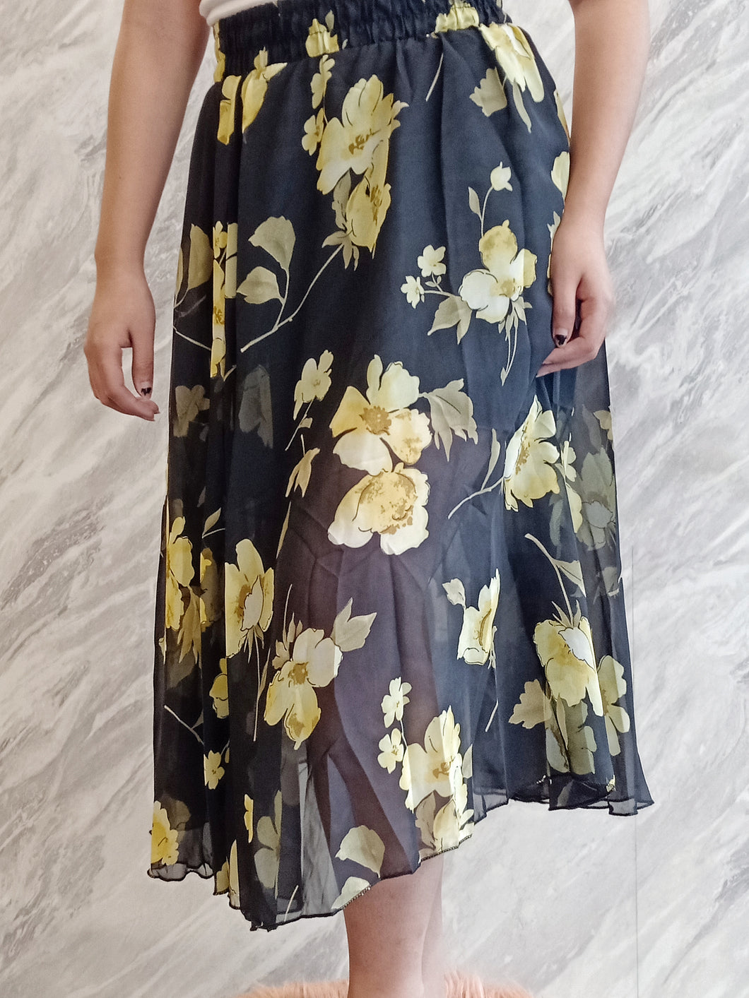 ELE-0235 Black yellow chiffon floral long skirt