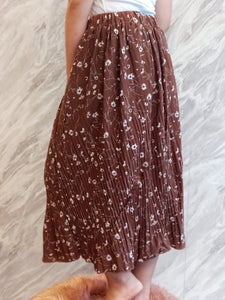 ELE-0222 Brown floral long skirt