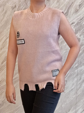 ELE-0308 Sleeveless wool pull over pink